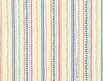 Childrens Stripe Fabric, Timeless Treasures Field Day, Fun C4451 White, Colorful Stripes Quilt Fabric, 100% Cotton Fabric