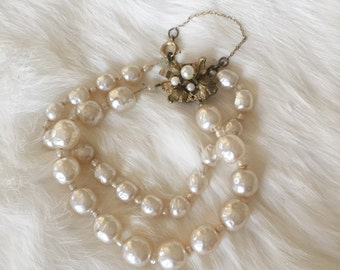 Vintage Signed Miriam Haskell Faux Baroque Pearl 2 strand bracelet