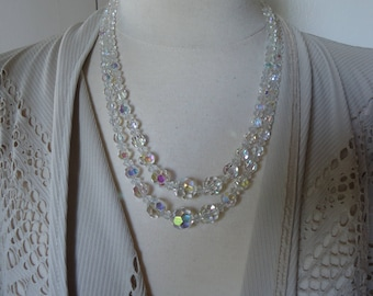 2-Strand Vintage Cut Glass Graduated Bead Necklace Restrung with Original Materials on Flex Wire, Japan, Gorgeous
