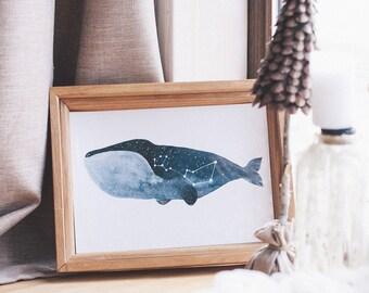 Baleine art imprimé baleine aquarelle baleine affiche Star baleine Constellation affiche Constellation impression Cetus affiche Cetus impression cosmique affiche