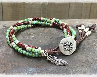 Beaded Bracelet/ Southwestern Wrap Bracelet/ Seed Bead Leather Wrap Bracelet/ Native American Bracelet/ Boho Wrap Bracelet/Bohemian Bracelet