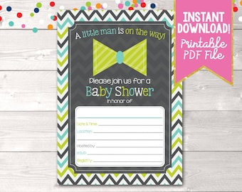 Fill In Little Man Baby Shower Invitations Lime Green Bowtie & Chevron Stripes Boys Baby Shower Digital Invitation Design INSTANT DOWNLOAD