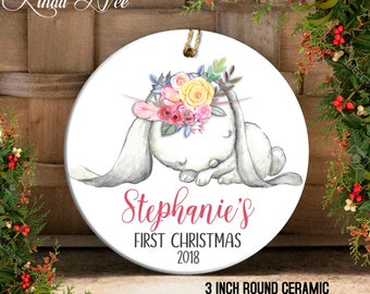 Baby's First Christmas Ornament, Personalized Baby's 1st Ornament, Baby Shower Gift, Gift for Baby Girl, Baby Bunny Keepsake Ornament OCH90