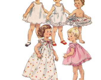 Simplicity 1563, sewing pattern, size 3 toddler's clothing pattern, baby dress, puff sleeves, bloomer pattern