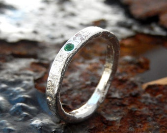 Silver emerald ring. sterling silver emerald textured ring