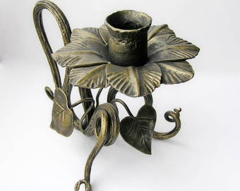 Forged candle holder Candle holder centerpiece Candleholder flower Iron candle holder Candlestick metal Wrought decor mantel Romantic decor