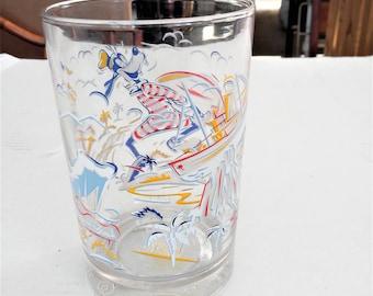 ON SALE Vintage Goofy Drinking Glass 25 Year Anniversary Disneyworld Commemorative Glass 16oz