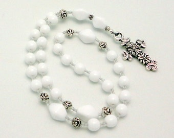White Opaque Czech Glass Anglican Rosary / Protestant Prayer Beads