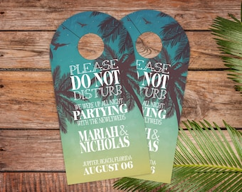 Beach Wedding Door Hangers - Twilight Palms Wedding Hotel Door Hangers - Hotel Wedding Favor - Wedding Favors - Do Not Disturb - dhrI-169