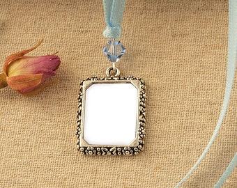 Crystal Wedding Bouquet Photo Frame Charm | Crystal Wedding Photo Frame Charm | Memorial Photo Frame Charm |  Wedding Picture Frame Charm