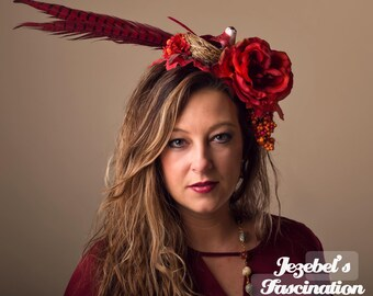 Demeter Harvest Boho Flower Headdress Southwestern Bird Nest Red Rust Pheasant Floral Fascinator Feather Autumn Fall Maple Rose Headpiece