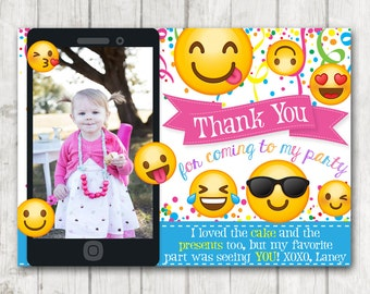 Printable Emoji Thank You Cards with Photo Emoji Thank You Card Personalized Emoticon Emojional Birthday Thank You Note Emoji Birthday Party