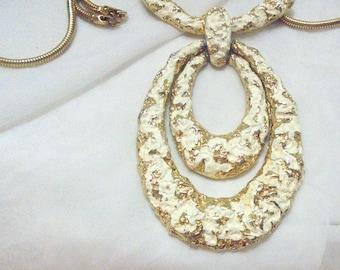 Large Diva Door Knocker Necklace White Washed Enamel - Vintage