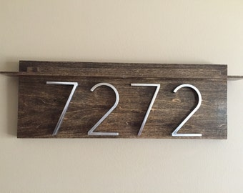 House Numbers (Horizontal) Metal Numbers on Wooden Plaque. Made to Order.