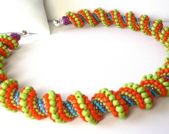 Peyote spiral weave instructions and tutorial for necklace or bracelet: Instant Downloadable Pattern PDF File