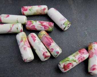 10 Long Pink Rose Glazed Tube Clay Beads