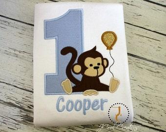 Monkey Birthday Shirt - Boy Birthday Shirt, Jungle Birthday, Zoo Birthday, Girl Birthday, Twin Birthday, Safari Birthday, Monkey Baby, Gold