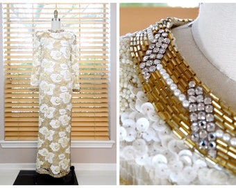 Rhinestone Beaded Avant Garde Bridal Gown / Lace Sequin Embellished Gown / Ivory Sequined Gold Beaded Wedding Dress