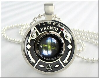 Camera Lens Necklace, Resin Charm, Pronto Camera Lens Pendant, Picture Jewelry, Gift Under 20, Photographer Gift, Round Silver 590RS