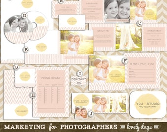 Photographer Marketing Set Kit  Branding with Business Card cd dvd Label and Case Letterhead Brochure INSTANT DOWNLOAD