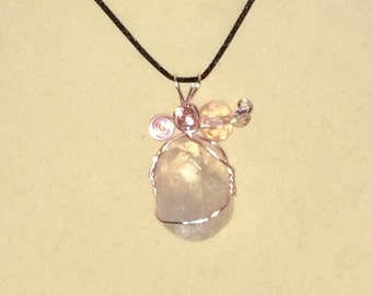Rose Quartz Pendant Wire Wrapped Necklace Jewelry