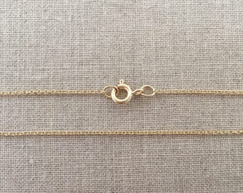 "18"" Gold Filled Cable Chain Necklace - 1.2mm - 18"" Light Cable Chain - Yellow Gold Filled - Gold Filled Necklace - 18"" Gold Necklace"