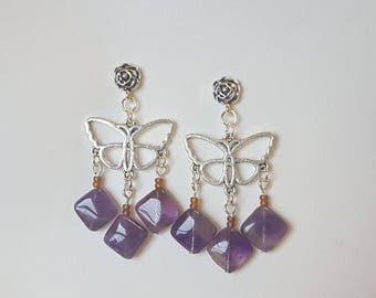 Amethyst Silver Post Dangle Earrings, Amethyst Jewelry, Flower Studs with Butterfly Dangles, Gifts for Her