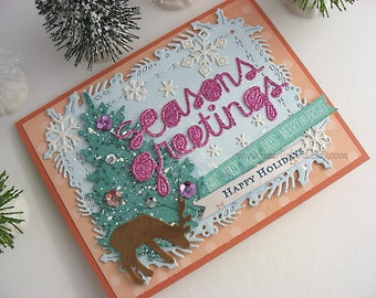 Seasons Greetings Holiday Deluxe Christmas Card~happy holidays~Cottage Style~Christmas gift card