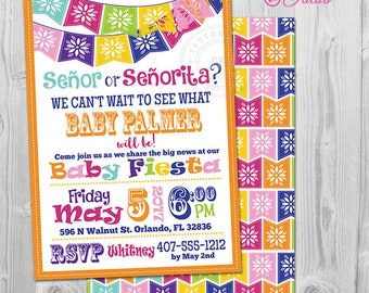 Fiesta Gender Reveal Invitation, Mexican Fiesta Gender Reveal Party Invitations Printable Senor or Senorita Gender Reveal Invite Baby Reveal