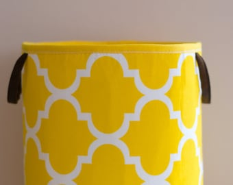 Toy Storage, Nursery Fabric Basket, Storage Bin, Toy Basket, Nursery Storage, yellow, White, maroko