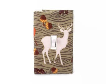 Deer Light Switch Cover - Gender Neutral Nursery - Woodland Switch Plate Cover