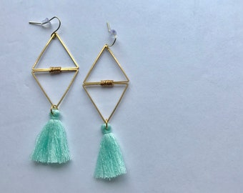 Double Triangle Losange Brass + Mint Green Tassels Pendant Earrings
