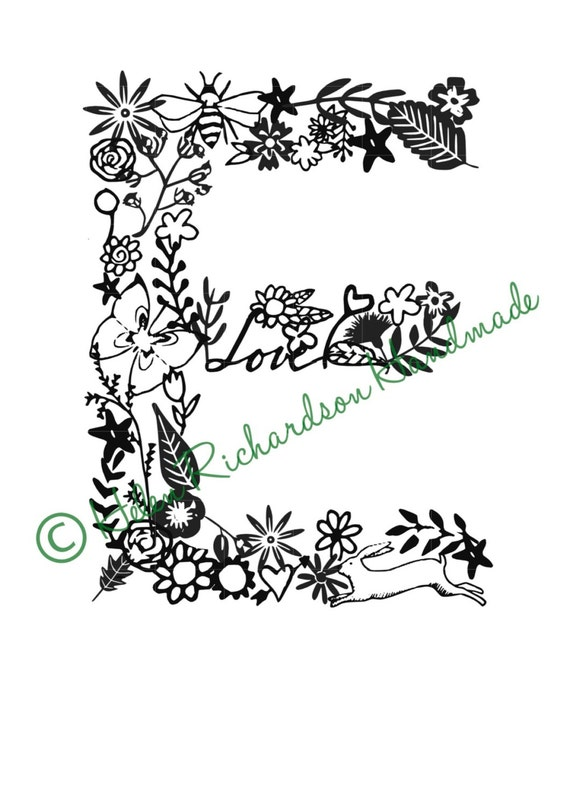 Floral Alphabet letter E paper cutting template for