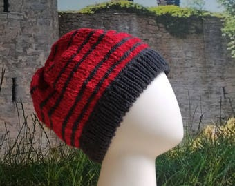 Child-Adult Classic Beanie, Stripey Hat, Soft and Cute, Everyday or Christmas Gift