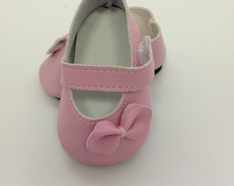 Shoes fit 18 inch  American Girl Dolls , Pink Dolls , Pink Bow