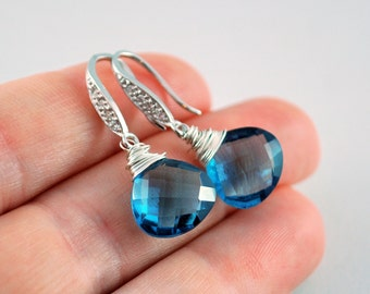 Wedding Earrings, London Blue Quartz, Gemstone, Bridal Jewelry, CZ, Wire Wrapped, Sterling Silver - Blue Ice - Free Shipping