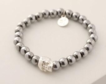 Mens Skull Bracelet, Mens Beaded Bracelet, Mens Hematite Bracelet, Male Skull Bracelet, Mens Designer Bracelets, Silver Bracelet For Men