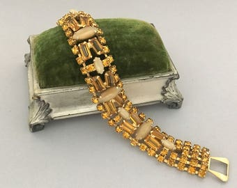 Vintage Jewelry Bracelets for Women, WEISS Rhinestone Bracelet, Amber Rhinestone Statement Bracelet, Vintage Rhinestone Bracelet Gift Idea