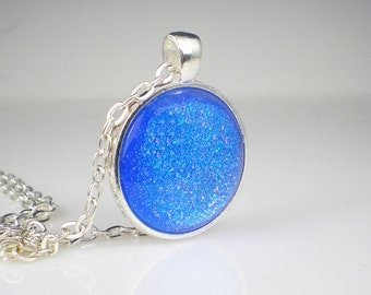 Blue Holographic Glitter Nail Polish Necklace Jewelry Sinful Colors Hottie Nail Polish