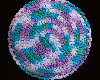 100% Cotton Hand Crocheted Pot Holder Hot Pad Doily Trivet Color: BEACH BALL