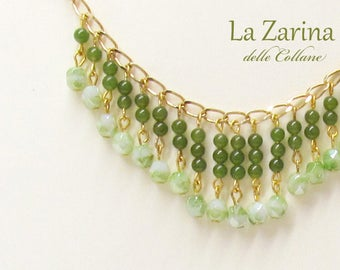 Fine necklace with real green and crystalline jade