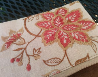Fold-over clutch - embroidered flower