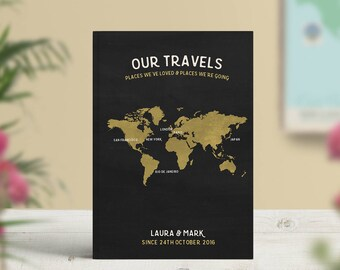 Bucket List Journal, Traveler Notebook, World Travel Bucket List, Travel Map Personalised, Travellers Gift, As seen in Conde Nast Traveller