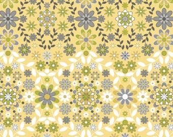 "OOP JM44 Jenean Morrison Silent Cimena SUNRISE HDJM02 Yellow Floral Home Dec 55"" wide 18"" BTHY Pink Quilting Sewing Quilt 100% Cotton Fabric"