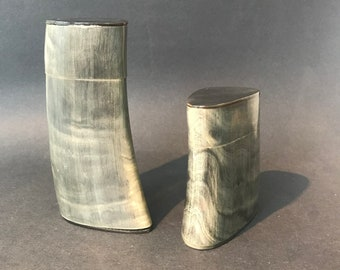 Pair of Buffalo Horn Containers,by Arthur Court c.1975