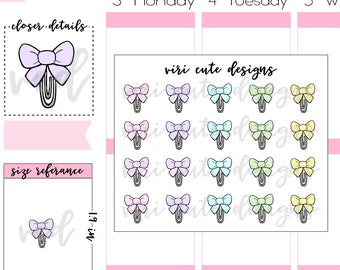 Bow Paper Clip Planner Stickers | 135