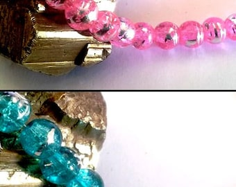 50 glass beads, two-tone, 08mm, pink or blue