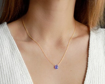 Tanzanite necklace, Natural Blue Crystal Pendant, December Birthstone, Gemstone Jewelry in 14k Rose Gold Filled Sterling Silver