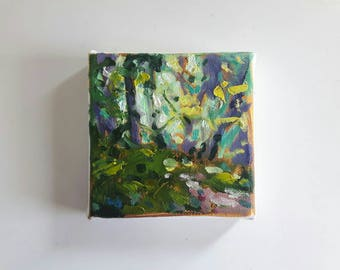 original oil painting, landscape painting, small painting, forest painting, 4x4 painting, oil on canvas, mini painting, tiny art, abstract