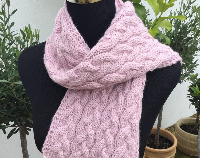 Pure alpaca cable scarf, cable scarf, alpaca scarf by Willow Luxury